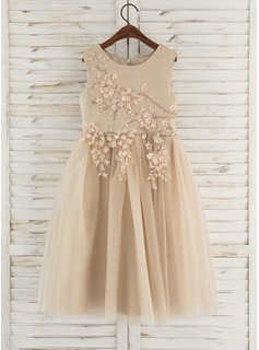 A-Line Tea-length Flower Girl Dress - Satin/Tulle/Lace Sleeveless Scoop Neck