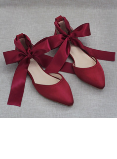 Women's Leatherette Flat Heel Closed Toe With Lace-up