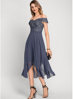 A-Line Off-the-Shoulder Asymmetrical Chiffon Cocktail Dress With Beading Sequins