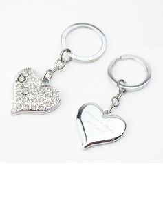 Personalized Heart Shaped Zinc Alloy Keychains (Set of 4)