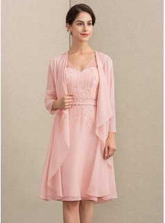 V-neck Knee-Length Chiffon Mother of the Bride Dress