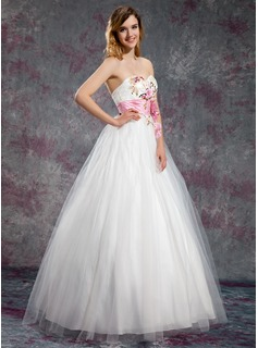 A-Line/Princess Sweetheart Floor-Length Tulle Prom Dress With Sash Beading Flower(s) Sequins