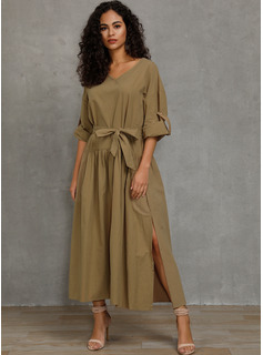 Polyester With Button/Solid/Slit Maxi Dress
