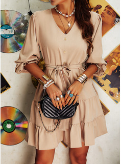 Solid A-line V-Neck Long Sleeves Midi Casual Skater Dresses
