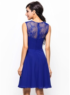 A-Line/Princess Square Neckline Knee-Length Chiffon Lace Bridesmaid Dress With Ruffle