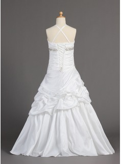 A-Line/Princess Floor-length Flower Girl Dress - Taffeta Sleeveless V-neck With Ruffles/Beading/Pick Up Skirt
