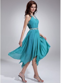 A-Line/Princess Square Neckline Asymmetrical Chiffon Holiday Dress With Ruffle Beading