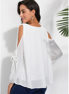 Long Sleeves Polyester Cold Shoulder Ruffle Blouses Blouses