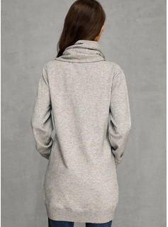 Solid Cotton Turtleneck Pullovers Sweaters
