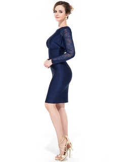 Sheath/Column Scoop Neck Knee-Length Jersey Cocktail Dress With Ruffle Beading