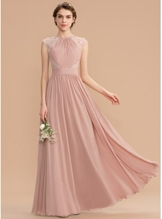 Scoop Neck Floor-Length Chiffon Lace Bridesmaid Dress With Bow(s)