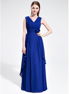 A-Line/Princess V-neck Floor-Length Chiffon Bridesmaid Dress With Ruffle Flower(s)