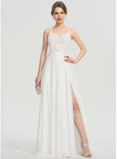 V-neck Sweep Train Chiffon Prom Dresses With Split Front