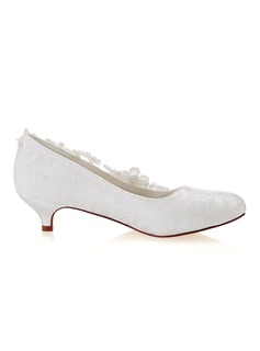 Women's Lace Silk Like Satin Kitten Heel Closed Toe With Stitching Lace Crystal Pearl