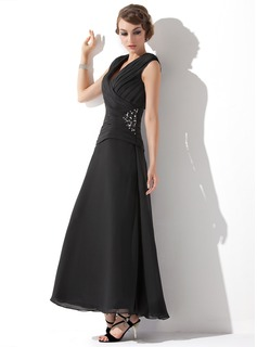 A-Line V-neck Ankle-Length Chiffon Mother of the Bride Dress With Ruffle Beading