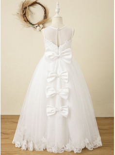 Ball-Gown/Princess Floor-length Flower Girl Dress - Satin/Tulle/Lace Sleeveless Scoop Neck With Bow(s) (Undetachable sash)