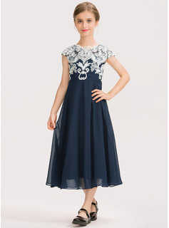 A-Line Scoop Neck Tea-Length Chiffon Lace Junior Bridesmaid Dress