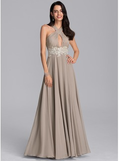 V-neck Floor-Length Chiffon Evening Dress With Lace