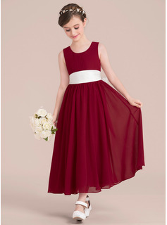 Empire A-Line Scoop Neck Ankle-Length Chiffon Junior Bridesmaid Dress With Sash Bow(s)
