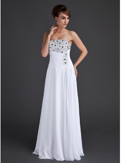 A-Line/Princess Strapless Floor-Length Chiffon Evening Dress With Ruffle Beading Sequins