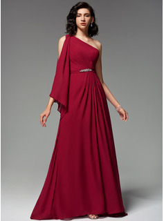 A-Line One-Shoulder Sweep Train Chiffon Evening Dress With Ruffle Beading
