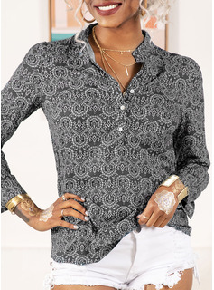 Regular Cotton Blends V-Neck Print 3XL L S M XL XXL Blouses