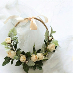 Classic Hand-tied Linen Rope/Artificial Flower Wedding Table Flowers (Sold in a single piece) -