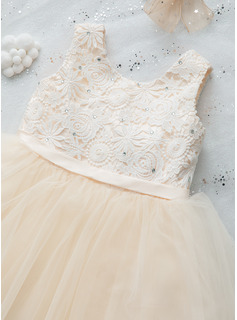 A-Line Tea-length Flower Girl Dress - Sleeveless Scalloped Neck With Lace/Beading/Flower(s)