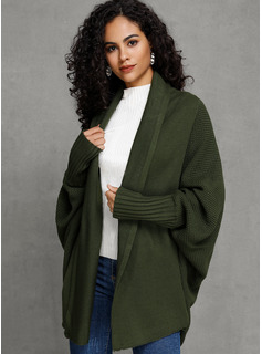 Solid Polyester Cardigans Gensere