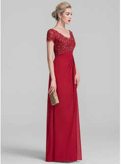 V-neck Floor-Length Chiffon Lace Evening Dress With Ruffle Beading