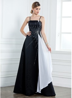 A-Line/Princess Floor-Length Satin Mother of the Bride Dress With Sash Beading Cascading Ruffles