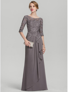 A-Line Scoop Neck Floor-Length Chiffon Lace Mother of the Bride Dress With Cascading Ruffles
