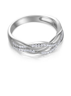 Twist Round Cut 925 Silver Women's Bands