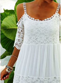 Lace Solid Shift Cold Shoulder 1/2 Sleeves Maxi Casual Vacation Dresses