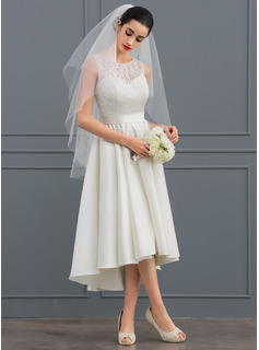 A-Line Illusion Asymmetrical Satin Lace Wedding Dress