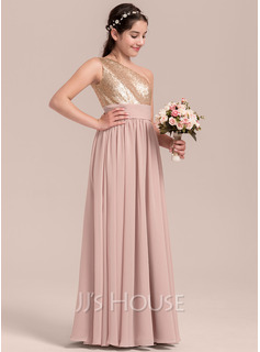 A-Line Floor-length Flower Girl Dress - Chiffon Sleeveless One-Shoulder With Sequins
