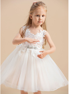 Knee-length Flower Girl Dress - Tulle Lace Sleeveless V-neck Straps With Rhinestone