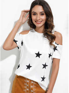 Short Sleeves Polyester Cold Shoulder T-shirt Blouses