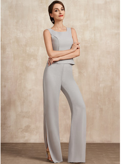 Jumpsuit/Pantsuit Square Neckline Floor-Length Chiffon Mother of the Bride Dress