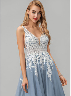 lace illusion evening dress