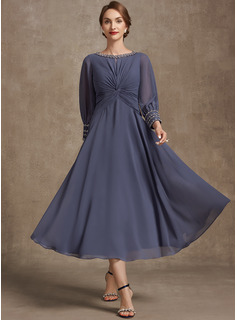 A-Line Scoop Neck Tea-Length Chiffon Mother of the Bride Dress With Ruffle Beading