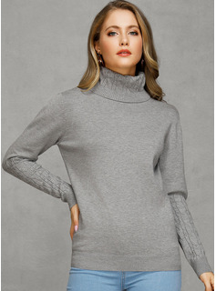 Chunky knit Solid Cotton Turtleneck Pullovers Sweaters