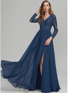 A-Line V-neck Floor-Length Chiffon Prom Dresses With Sequins Split Front