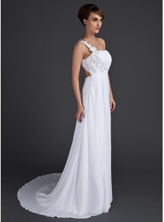 A-Line/Princess One-Shoulder Sweep Train Chiffon Holiday Dress With Ruffle Appliques Lace