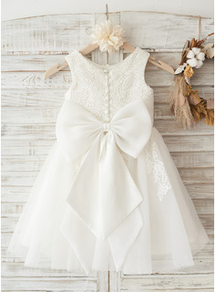 A-Line/Princess Knee-length Flower Girl Dress - Tulle/Lace Sleeveless Scoop Neck With Lace/Bow(s)