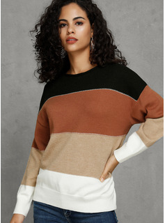 Color Block Polyester Cotton Round Neck Pullovers Sweaters