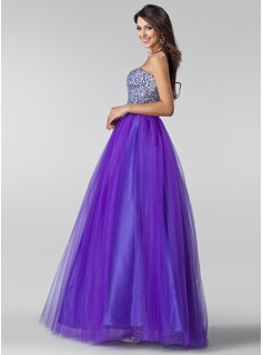 blue high neckline prom dress