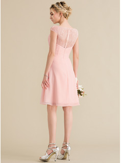 A-Line V-neck Knee-Length Chiffon Lace Homecoming Dress With Cascading Ruffles
