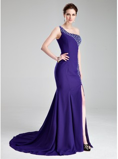 Trumpet/Mermaid One-Shoulder Court Train Chiffon Prom Dresses With Beading Split Front