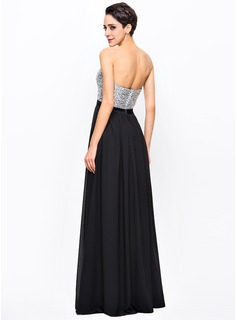 A-Line/Princess Sweetheart Floor-Length Chiffon Sequined Prom Dresses With Beading